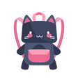 cute purple and pink cat-shaped child backpack vector image