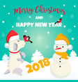 dog and winter scene perfect for the year of vector image vector image