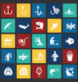 fishing icon set on color squares background for vector image