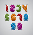 Geometric modern style numbers made with rhombuses vector image vector image