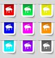 Grand piano icon sign Set of multicolored modern vector image