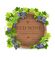 grapes and wooden barrel vector image vector image