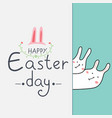 happy easter day greeting card with cute bunny vector image vector image