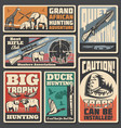 hunting sport posters ammunition and animals vector image vector image