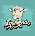 insomnia handwritten lettering hand drawn of vector image