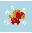 kiddy little red pony with daisy vector image