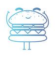 line kawaii cute happy hamburger fastfood vector image vector image