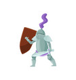medieval warrior with shield and sword in hands in vector image