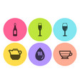 milk jug champagne and hot water icons set vector image vector image
