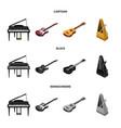 musical instrument cartoonblackmonochrome icons vector image