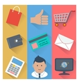 Online shopping and payment methods icons vector image