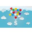 paper art heart money cloud in the sky concept vector image vector image