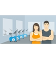 Personal fitness trainers asian man and woman in vector image vector image
