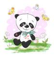 postcard cute cartoon panda with vector image vector image