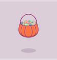 pumpkin with candies in flat style for halloween vector image vector image