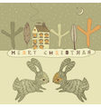 Retro Rabbits Christmas Card vector image vector image