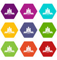 royal castle icons set 9 vector image vector image