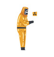 scientist in radiation protective suit working vector image vector image