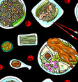 seamless pattern chinese food vector image