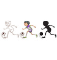 Sketch of a boy playing soccer vector image vector image