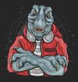 t rex dj music vector image vector image