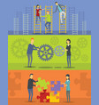 team building banner horizontal set flat style vector image vector image
