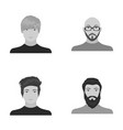 the face of a bald man with glasses and a beard a vector image vector image