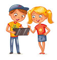 two happy kids looking at tablet pc computer vector image vector image