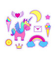 unicorn sticker set cute children collection vector image vector image