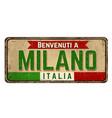 welcome to milan in italian languagevintage rusty vector image