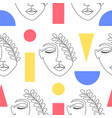 woman faces and geometric figures vector image vector image