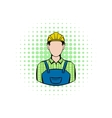 Worker comics icon vector image vector image