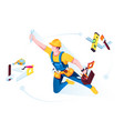 worker or builder in uniform with building tools vector image