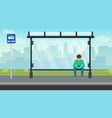 young man sitting alone at the bus stop and using vector image