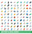 100 post and mail icons set isometric 3d style vector image vector image
