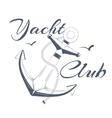 Anchor logo text yacht club vector image vector image
