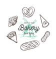 bakery hand drawn top view vector image vector image