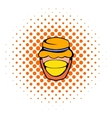 Bank with honey icon comics style vector image vector image