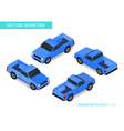 Blue isometric pickup vector image