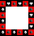 card suit chess board red and black border vector image