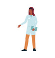 cartoon doctor in medical uniform smiling and vector image vector image