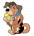 cartoon dog eating ice cream vector image