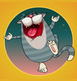 cartoon joyful striped cat fun singing in the vector image vector image