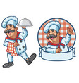 cartoon set of happy chef vector image vector image