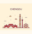 chengdu skyline sichuan china linear style vector image