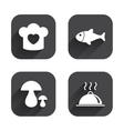 Chief hat cooking pan icons Fish and mushrooms vector image vector image