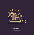 christmas gifts on sleigh new year presents vector image vector image