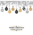 christmas greeting card with balls vector image vector image