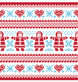 Christmas Winter knitted pattern card vector image vector image