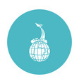 circle light blue with earth globe and paper plane vector image vector image